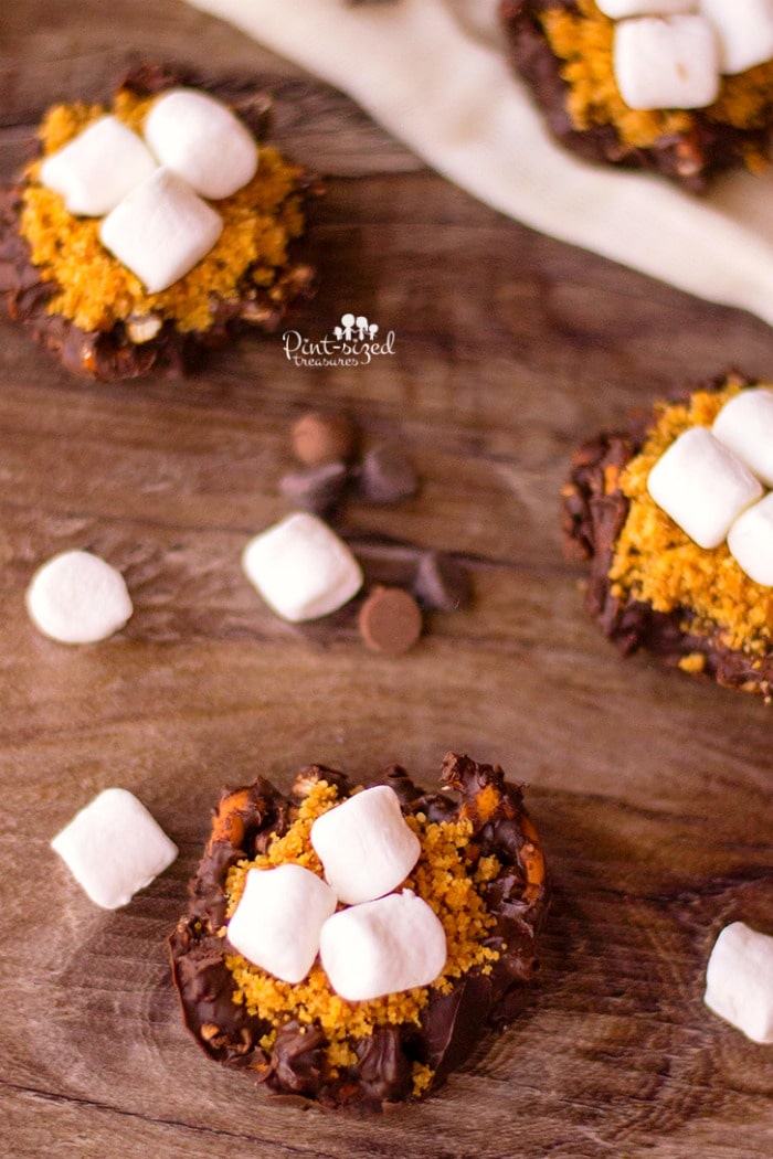 Chopped pretzels are coated with chocolate, placed in tins and topped with additional chocolate, graham cracker crumbs and mini marshmallow to create a crazy yummy, sweet and salty pretzel s'mores bites recipes! Perfect for s'mores fans! #pretzelsmores #smores #Easysmores #nobakesmores #sweetadnsaltysmores #pretzeltreats #easytreats #easydessert #easydessertrecipe