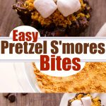 Chopped pretzels are coated with chocolate, placed in tins and topped with additional chocolate, graham cracker crumbs and mini marshmallow to create a crazy yummy, sweet and salty pretzel s'mores bites recipes! Perfect for s'mores fans! #easysmores #pretzelsmores #Sweetadnsaltysmores #smoresrecipe #creativesmores #pretzeltreat