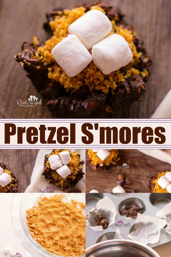 Chopped pretzels are coated with chocolate, placed in tins and topped with additional chocolate, graham cracker crumbs and mini marshmallow to create a crazy yummy, sweet and salty pretzel s'mores bites recipes! Perfect for s'mores fans! #easyrecipes #easytreats #easydesserts #smores #smoresbites #sweetandsaltysmores #chocolatesmores #pretzelsmores #Pretzelrecipe #pretzelsnack