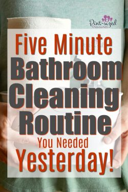 If you're super busy but enjoy a clean home, you need the five minute bathroom cleaning routine YESTERDAY! Grab the cute printable bathroom cleaning routine too! #ad #FamilyCountsOnClean #KeepLifeRolling #cleaningtips #bathroomcleaning #cleanbathroom #cleaningwithkids #momswithcleanhome #cleanyourhouse #easycleaning #quickcleaningtips