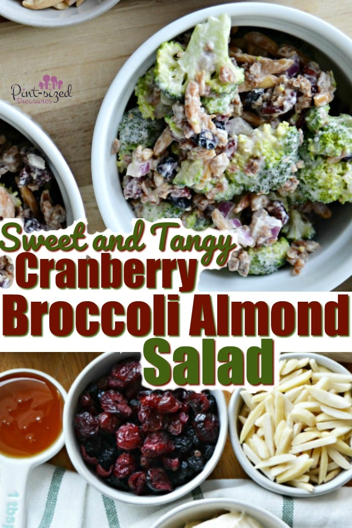 Cranberry broccoli almond salad pairs perfectly with a hearty meal! It's sweet, tangy, crispy and has real bacon bits and crunchy, toasted almonds. Easily made-ahead for weeknight meals!  #ad #KitchenCraftedItalian  #MichaelAngelosMeals #broccoli #sidedishes #broccolisalad #saladrecipe #cranberry #cranberrybroccolisalad #cranberrysidedish