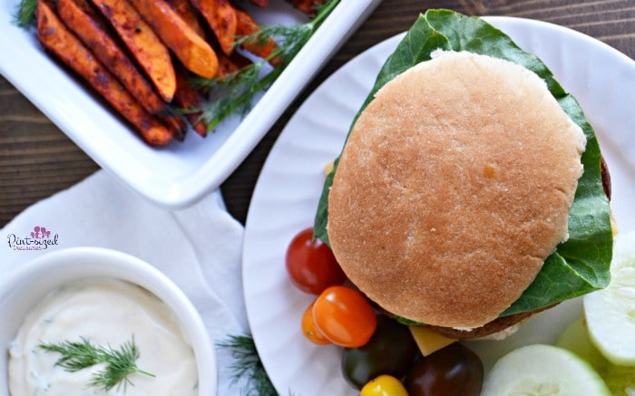 Easy spicy sweet potatoes and falafel burger meal idea