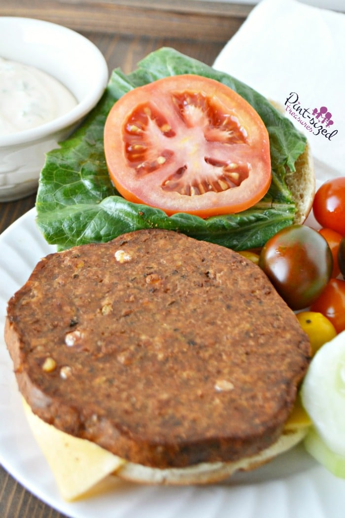 Open faced falafel burger thatpairs perfectly with baked sweet potato fries