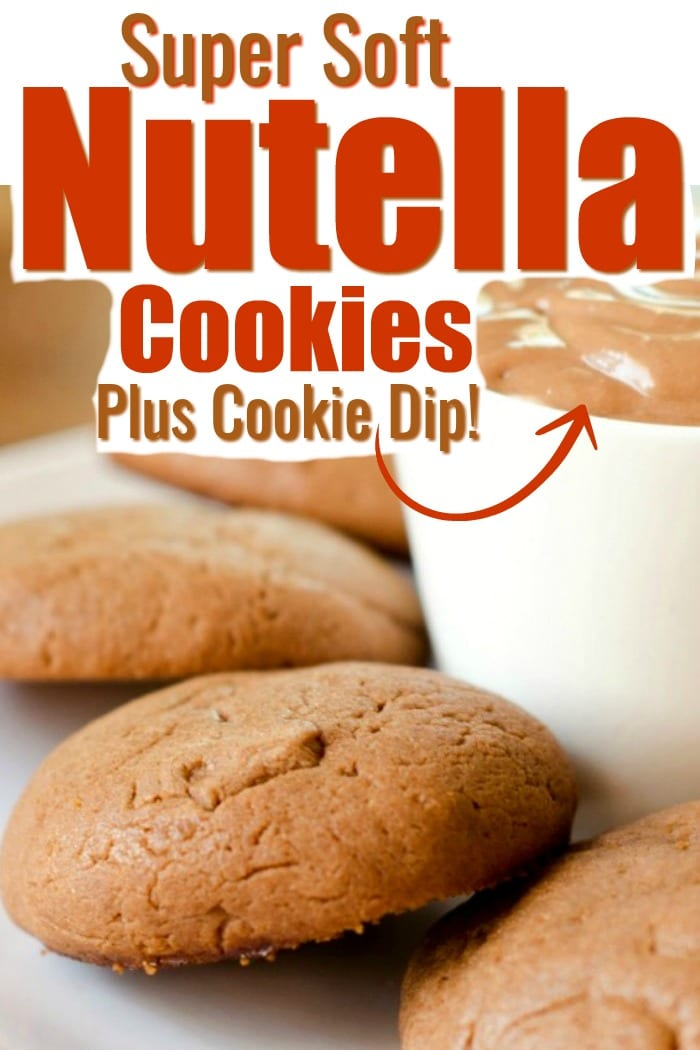 Mmm...these Nutella cookies are super soft and come with a homemade, Nutella cookie dip too! Next time a Nutella craving strikes, bake a batch of these super soft cookies! #nutella #cookies #softcookies #bakingcookies #easycookierecipe #softcookierecipe #nutellacookies #recipewithnutella