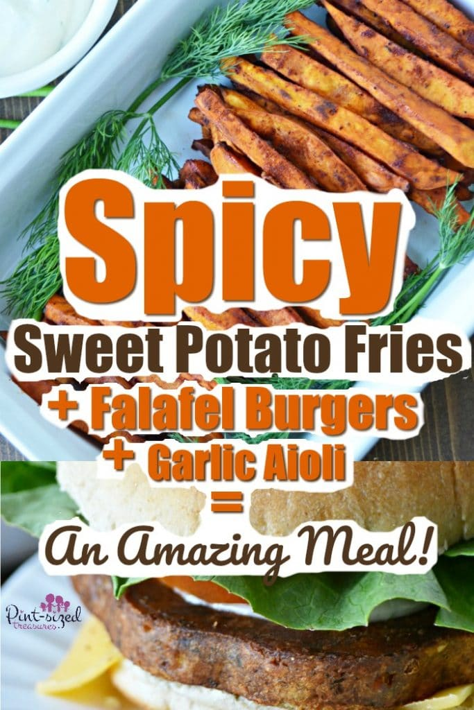 Spicy sweet baked potato fries are a crazy amazing side to a hearty, Falafel burger! we even have a supersimple, garlic aioli sauce that's perfect for dipping and dressing up your fave burger! #TasteIt2BelieveIt #MorningStarFarms #bakedsweetpotato #bakedfries #sweetpotatofries #sweetpotatorecipes #bakedfries #falafelburgers #mealideas #familyrecipes #easymeals