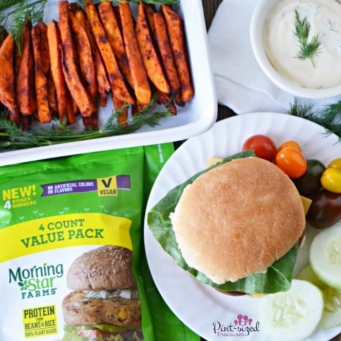 Spicy sweet potato fries thta are baked and served with a falafel burger