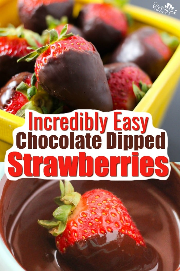 Incredibly easy chocolate strawberries are a decadent dessert that's ready in minutes! Jut three ingredients needed! #pintsizedtreasures #chocolate #strawberries #chocolatecovered #chocolatestrawberries #chocolatedipped #strawberrytreats #easyrecipe #dessert