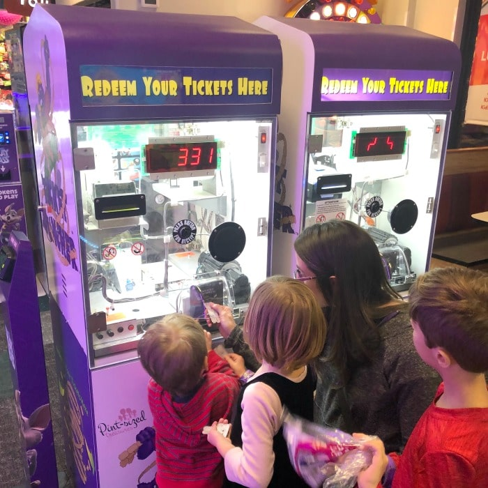 Collecting tickets at Chuck E. Cheese's