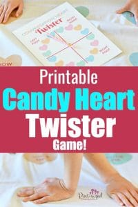 This printable Conversation Heart Twister game is super-fun for the kids...especially for Valentine's Day! #pintsizedtreasures #Valentinesday #printable #gamesforkids #Valentinesdayforkids #kids #holidays #kidsvalentines #gamesforValentinesday