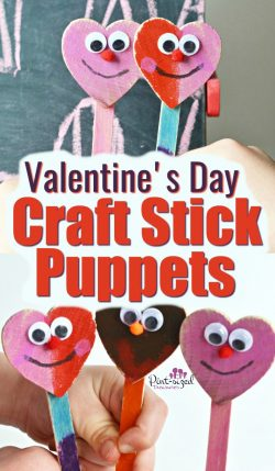 Valentine's Day, heart-shaped, craft stick puppet craft is incredibly fun, low mess and super simple! Kids, parents and teachers will LOVE this Valentine's Day kids craft! #pintsizedtreasures #Valentinesday #Valentinesdaycrafts #kidscrafts #craftsforkids #easycrafts 3heartshaped #heartshapedcrafts #Valentinesdayforkids #kidholiday #valentinesactivities