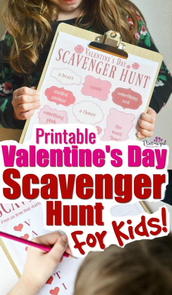 This printable Valentine's Day Scavenger Hunt is a fun way to get kids moving and celebrating Valentine's Day! Two printable Valentine's Day versions are included! #pintsizedtreasures #Valentinesday #scavengerhunt #printablegame #printablescavengerhunt #printables #Valentinesdayprintables #kids #kidsactivities