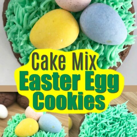 Easter egg cookies that are made from a cake mix! Super easy cookies with tiny Easter eggs!