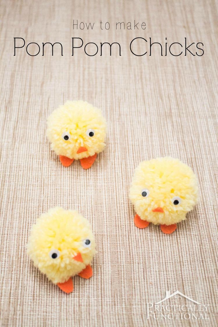 Pom Pom chicks easter craft
