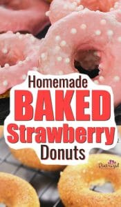 These Homemade baked strawberry donuts are SO good and they're not from a cake mix! These incredibly easy, baked strawberry doughnuts come with a homemade, strawberry glaze that takes them up another notch not the amazing desert scale! #donuts #doughnuts #strawberry #bakeddonuts #easydonutrecipe #doughnutrecipe #bakeddoughnuts #strawberrydessert #strawberrydoughnuts #pintsizedtreasures