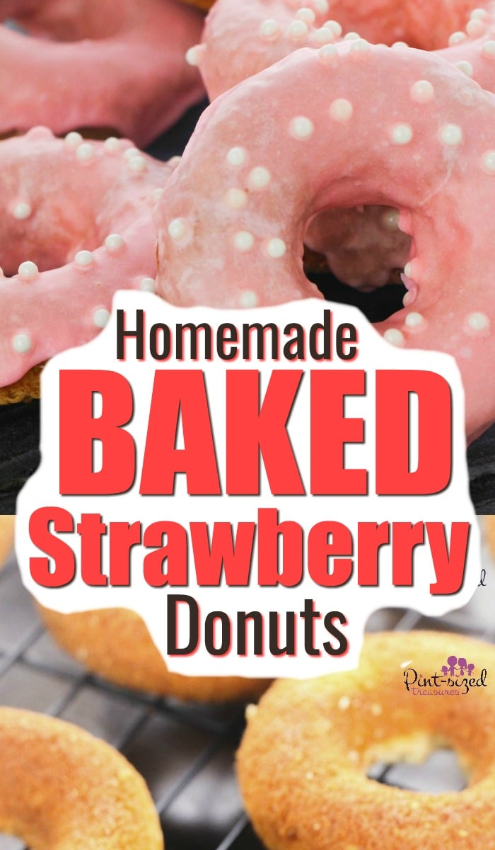 Homemade baked strawberry donuts are SO good and they're not from a cake mix! These incredibly easy, baked strawberry doughnuts come with a homemade, strawberry glaze that takes them up another notch not the amazing desert scale! #donuts #doughnuts #strawberry #bakeddonuts #easydonutrecipe #doughnutrecipe #bakeddoughnuts #strawberrydessert #strawberrydoughnuts #pintsizedtreasures
