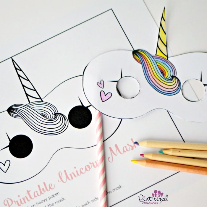 Printable unicorn masks