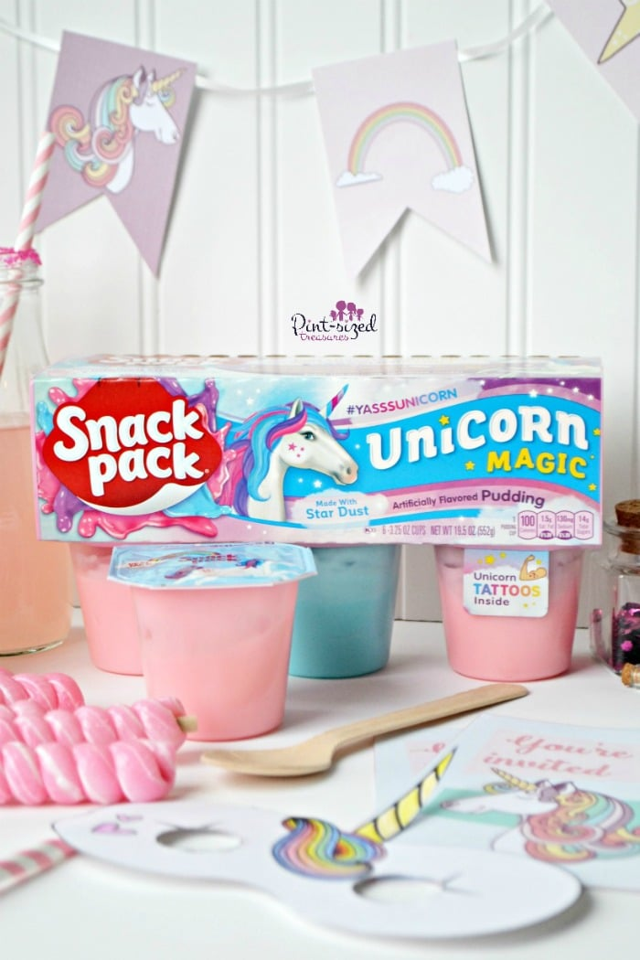 Unicorn-themed snacks for a unicorn play date