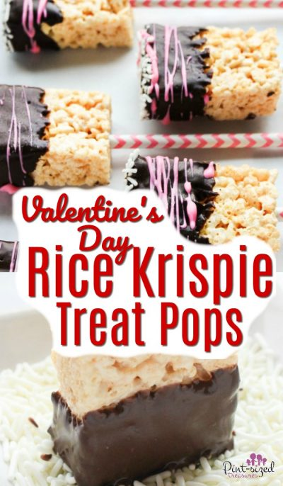 Rice Krispie treat pops are perfect for Valentine's Day! They're dipped in chocolate and covered in sprinkles! #pintsizedtreasures #ricekrispietreats #ricekrispies #treatpops #valentinesday #valentinesdayrecipe