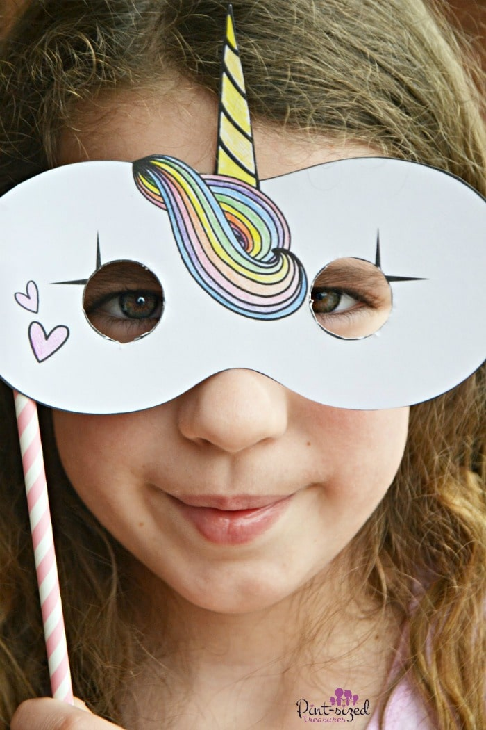 Printable unicorn masks for unicorn play dates and party