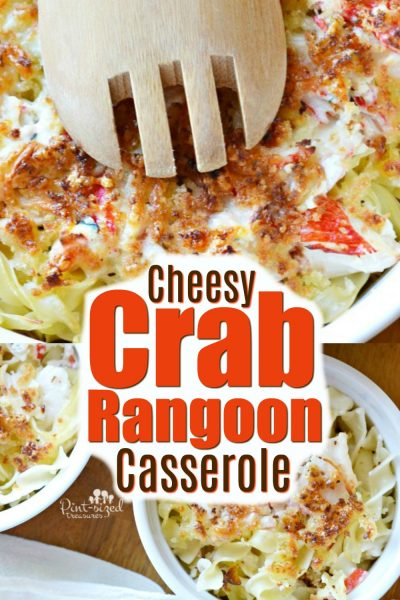This easy, crab rangoon casserole is incredibly cheesy and packed with crab and all the flavors that crab rangoon fans love!