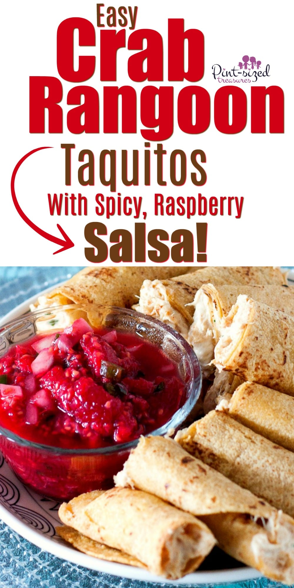 Easy crab rangoon taquitos are incredibly fun and creative! They take your favorite crab rangoon recipe and turn into a perfectly, baked taquito! Then, all those flavors get dipped into our famous, homemade, spicy, raspberry salsa! #crabrangoon #taquitos