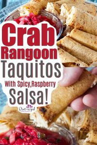 Crab rangoon Taquitos are so simple and good! Your favorite crab rangoon flavors baked into a taquito and served with salsa!