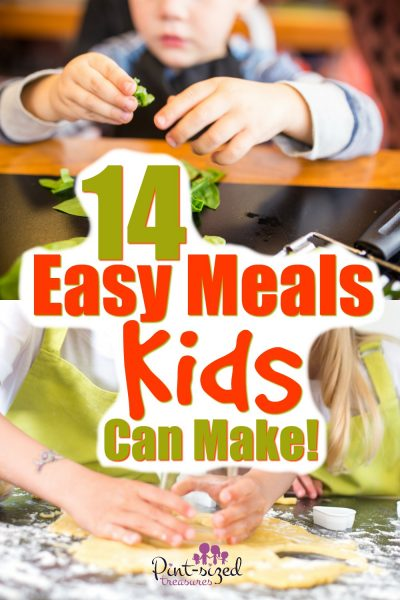 14 Easy Meals Kids Can Make that are super simple, fun and completely doable! Plus, cooking tips and kitchen safety lessons are included!