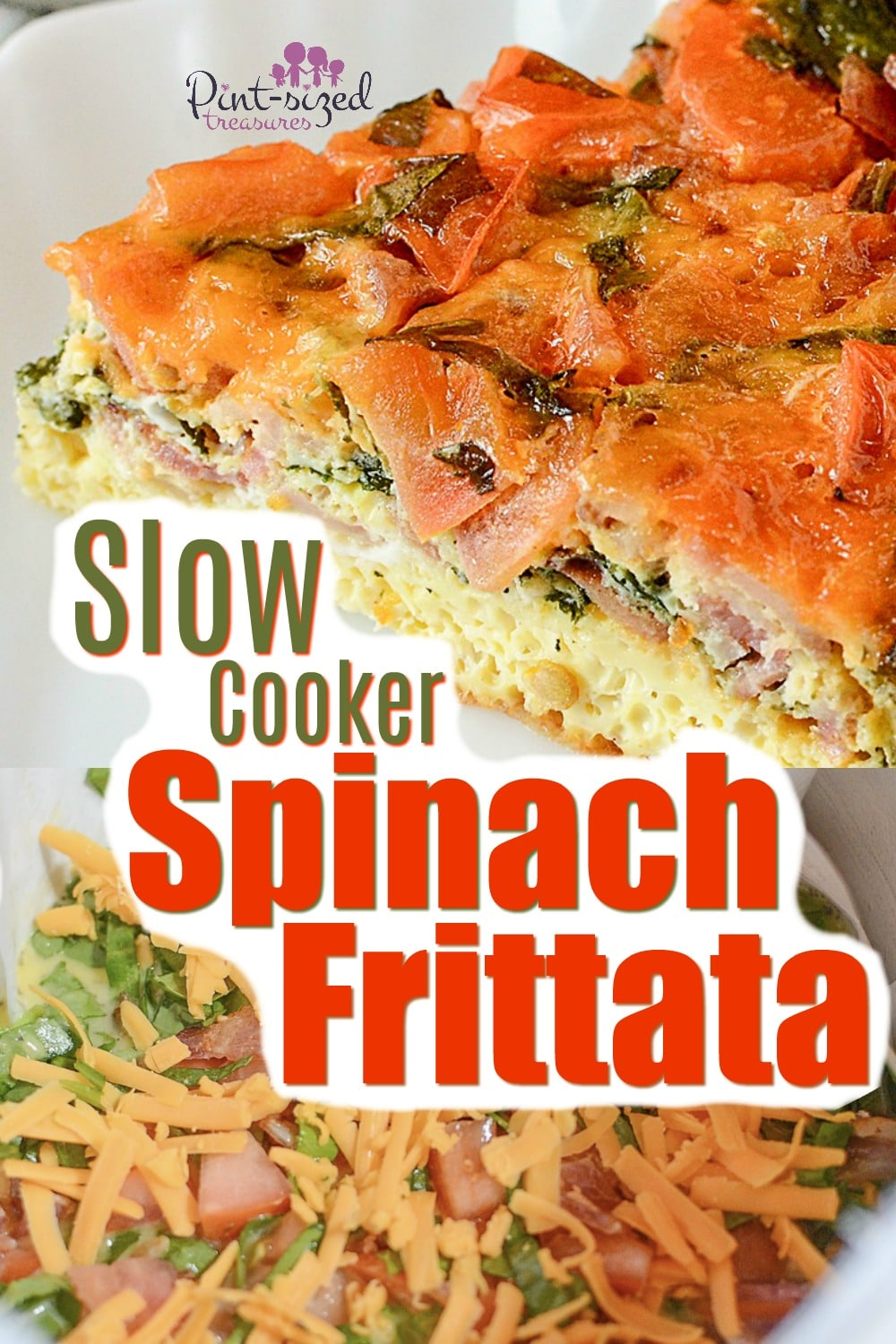 Slow cooker spinach frittata recipe is a simple, crustless quiche that's packed with flavors, seasonings and made in the slow cooker! You'll love this spinach filled frittata!