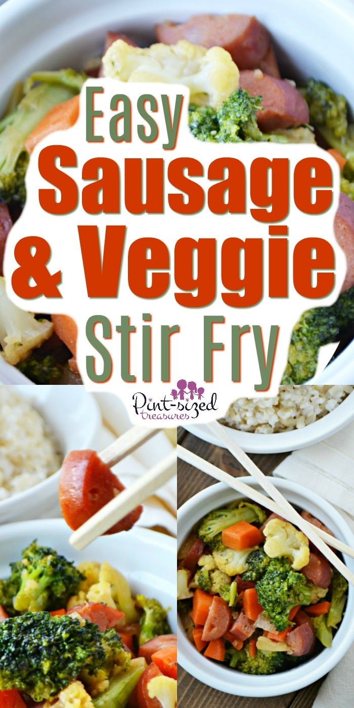 This easy, sausage and veggie stir-fry is super simple and tastes amazing! Pair it with white, jasmine rice and you've have a simple, fun recipe to make every week!