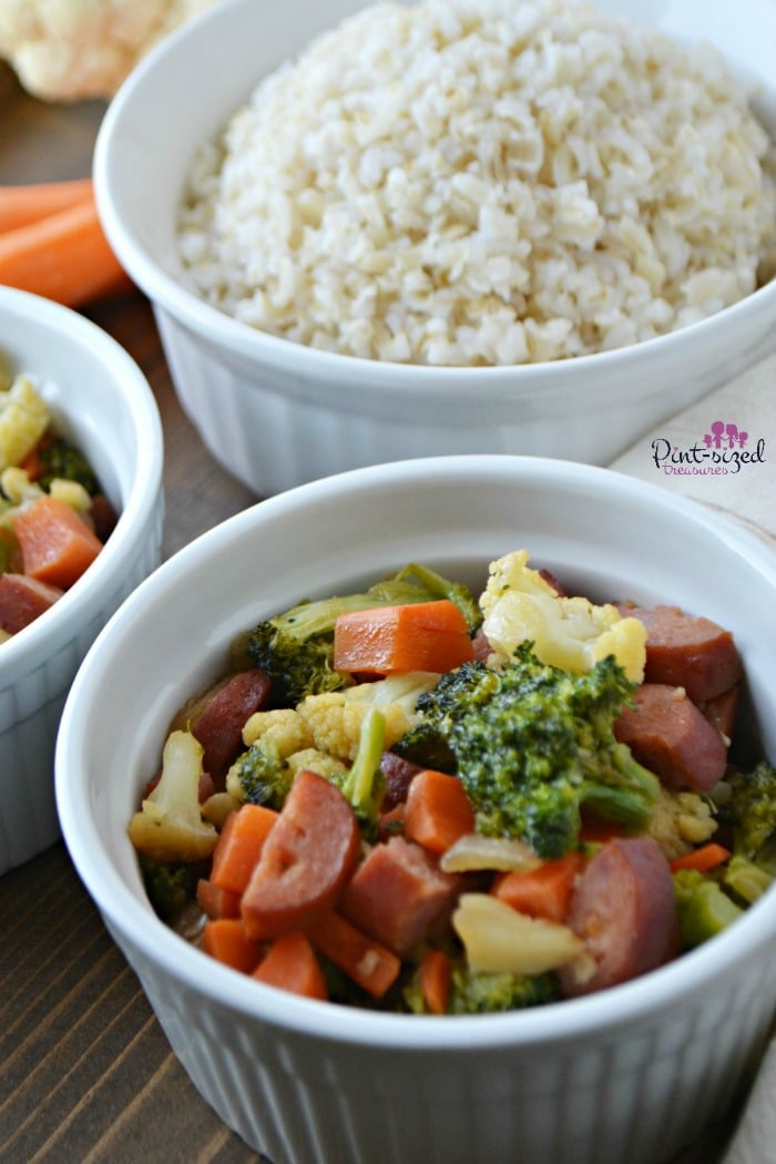 Easy stir-fry with veggies and sausage