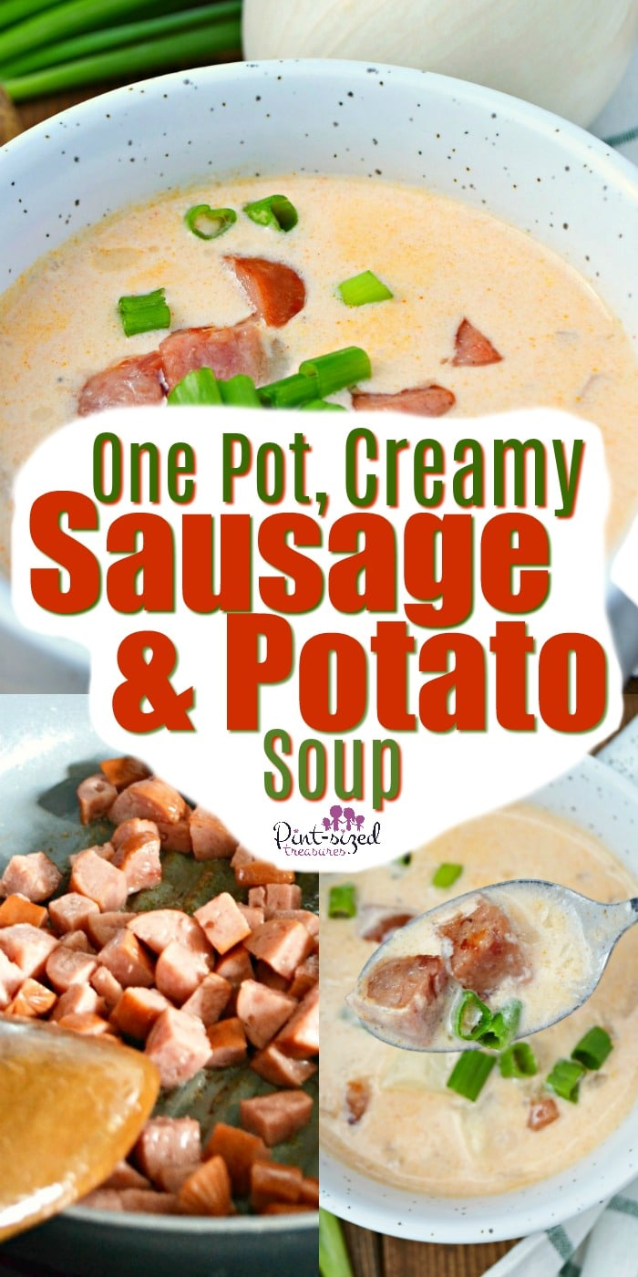 Creamy sausage and potato soup is a super simple recipe that's perfect for busy weeknights! A perfect comfort food that uses the ingredients in your pantry!