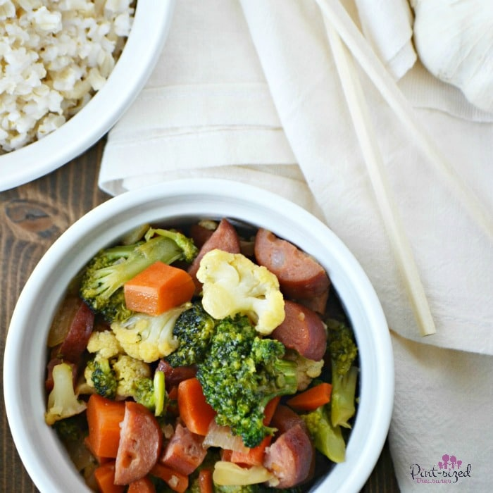 One of our favorite recipes is this Easy, Sausage and veggie stir-fry! It's ready in minutes and uses just a few ingredients to get dinner on the table FAST!