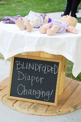 diaper changing game at baby shower