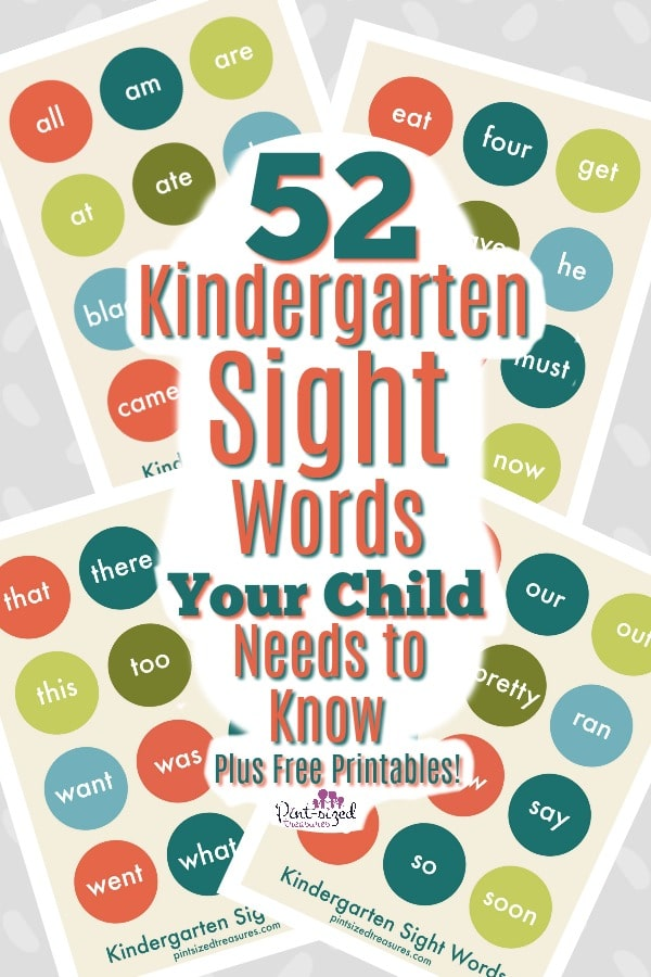 Kindergarten sight words printable flash cards