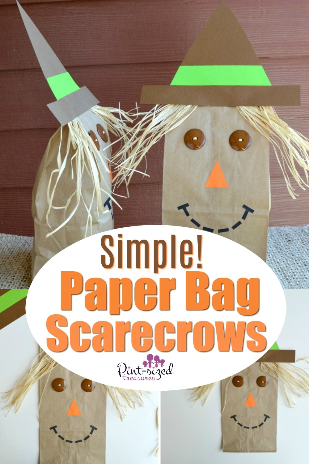 Simple paper bag scarecrow craft kids love