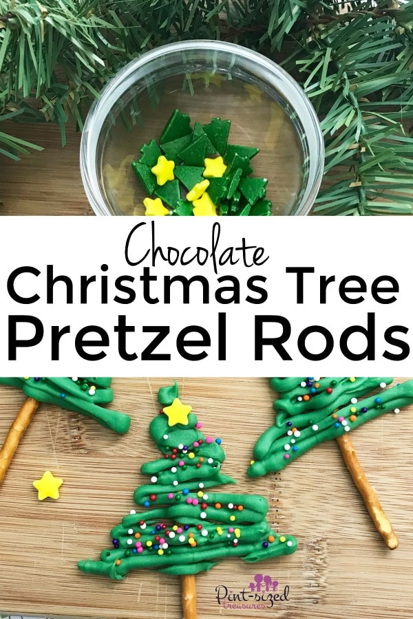 Chocolate covered Christmas tree pretzels