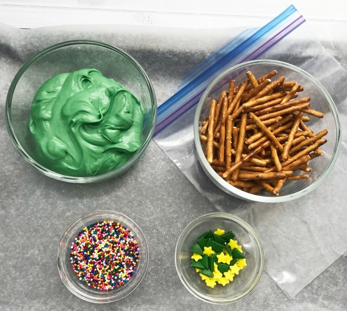 Ingredients for Christmas tree pretzels