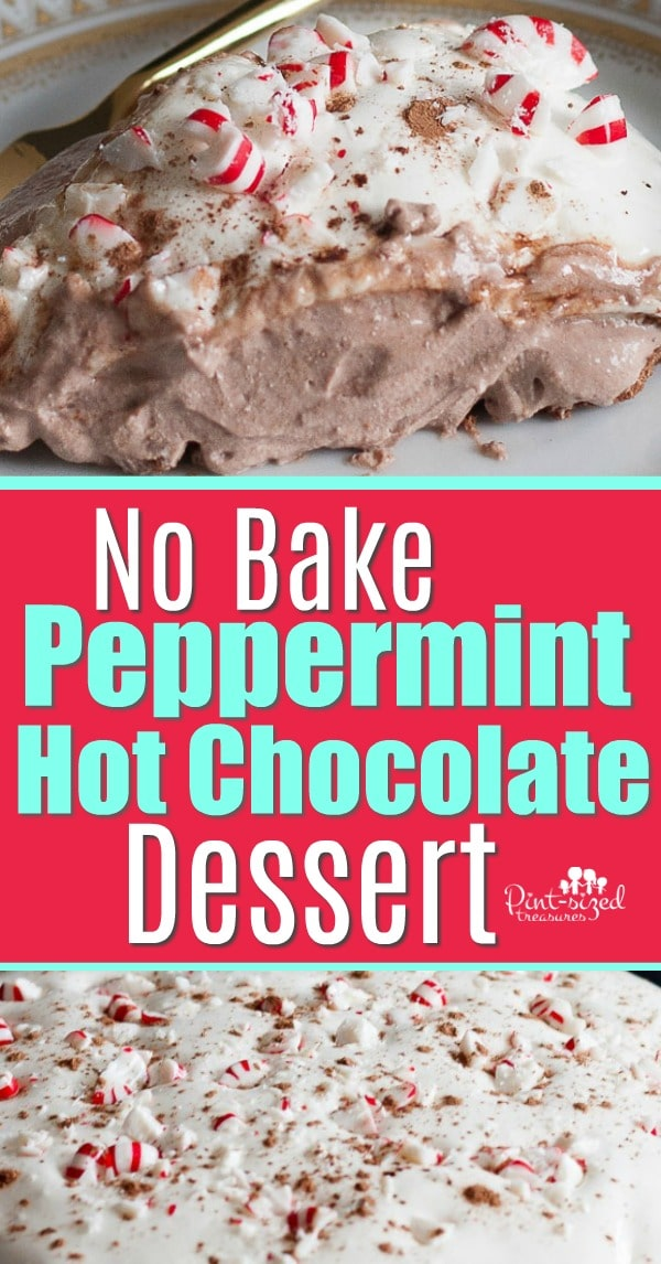 No Bake Hot Chocolate Pie with Peppermint