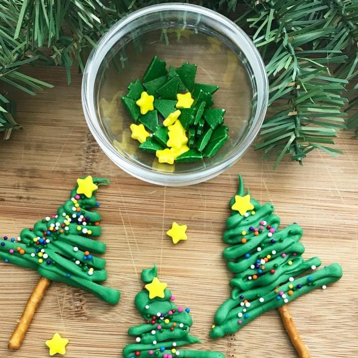 Sprinkles needed for pretzel Christmas trees