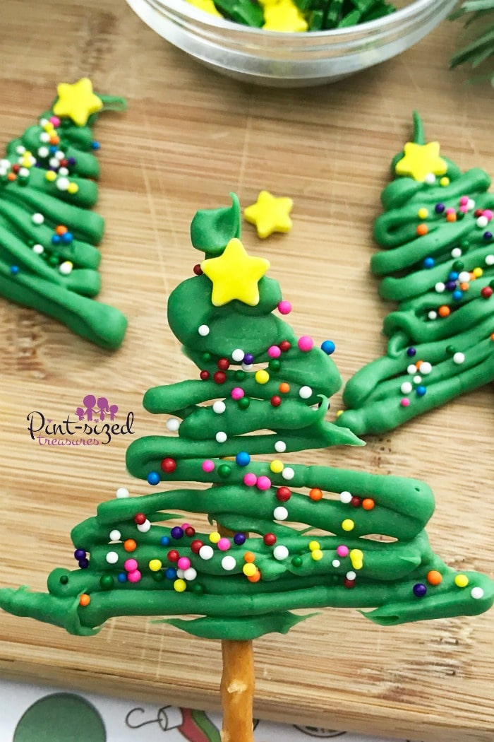 Christmas tree pretzels that are dipped in chocolate
