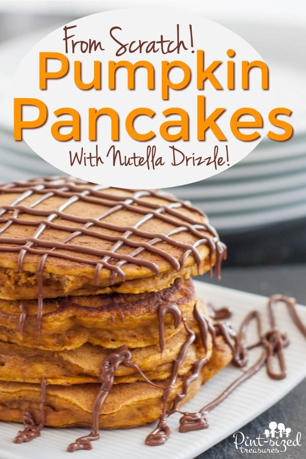 Homemade Pumpkin Pancakes with Nutella Drizzle