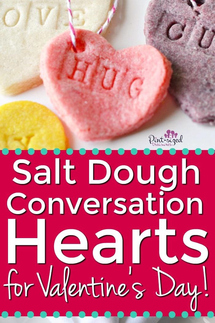salt dough conversation hearts for Valentine's Day