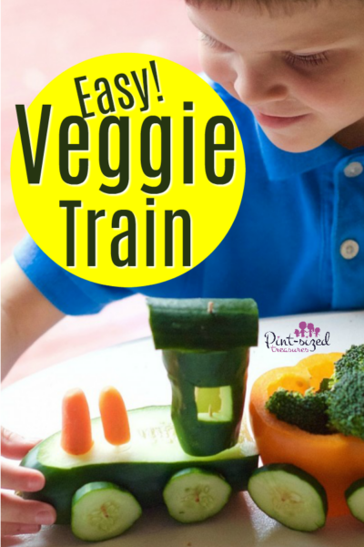 Veggies Tray Made into Veggie Train