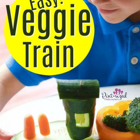 Veggies Tray Made into Veggie Train
