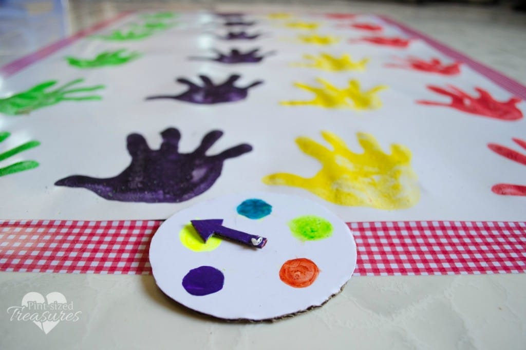 handprint twister for kids indoor activity