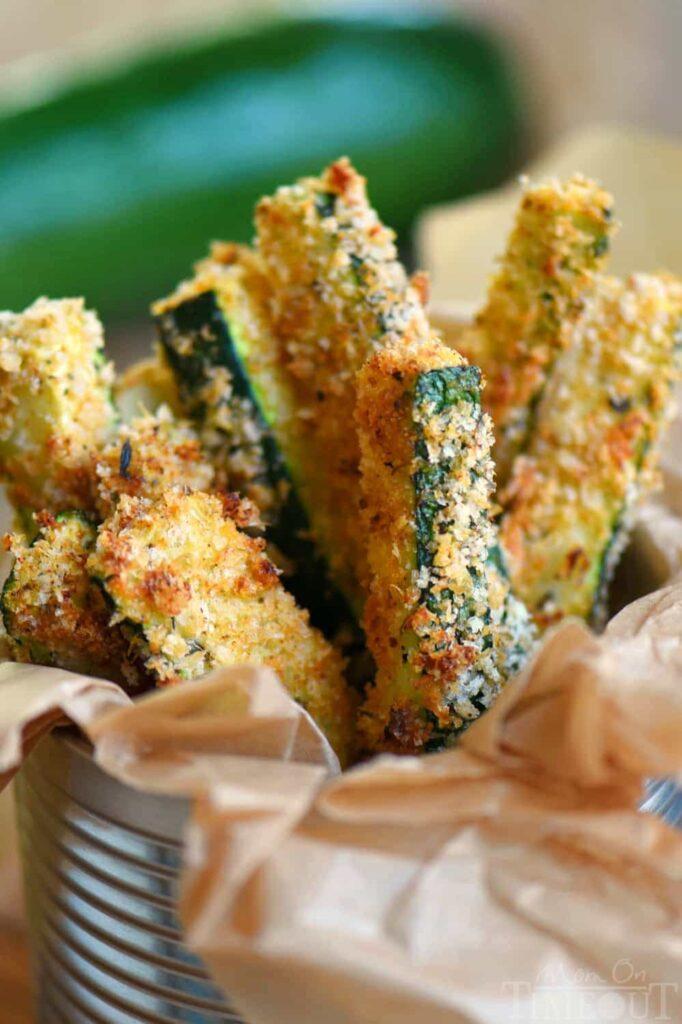 making zucchini fries for kids