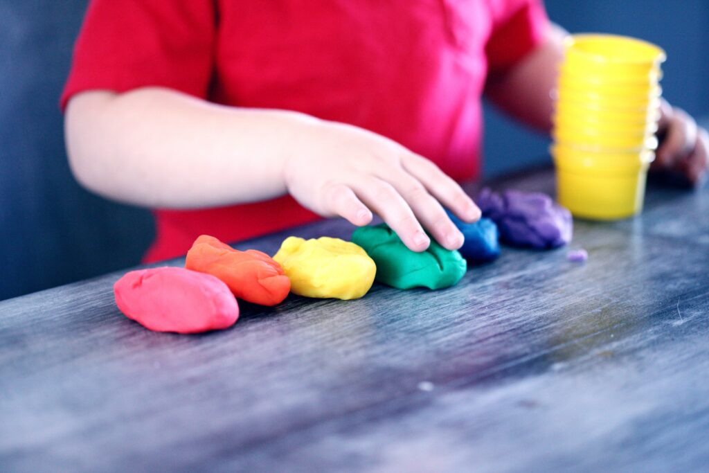 playing with play dough for a quiet time activity idea