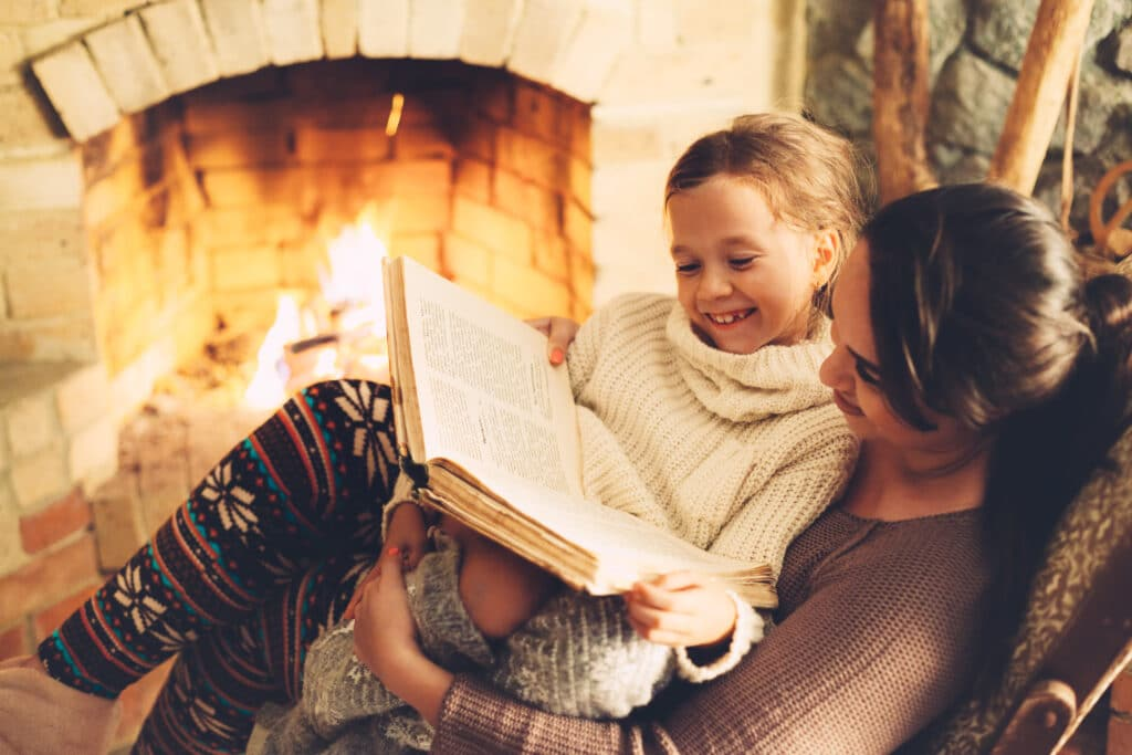 homeschool mom reading child book