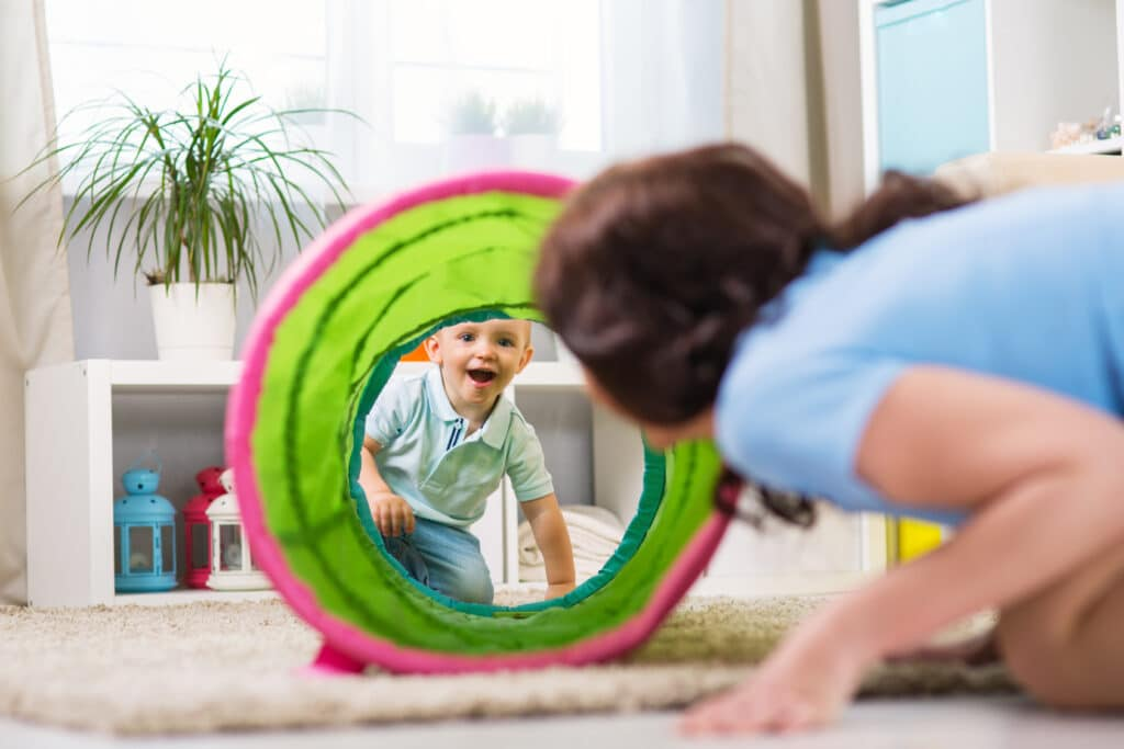 homeschool mom playing with child