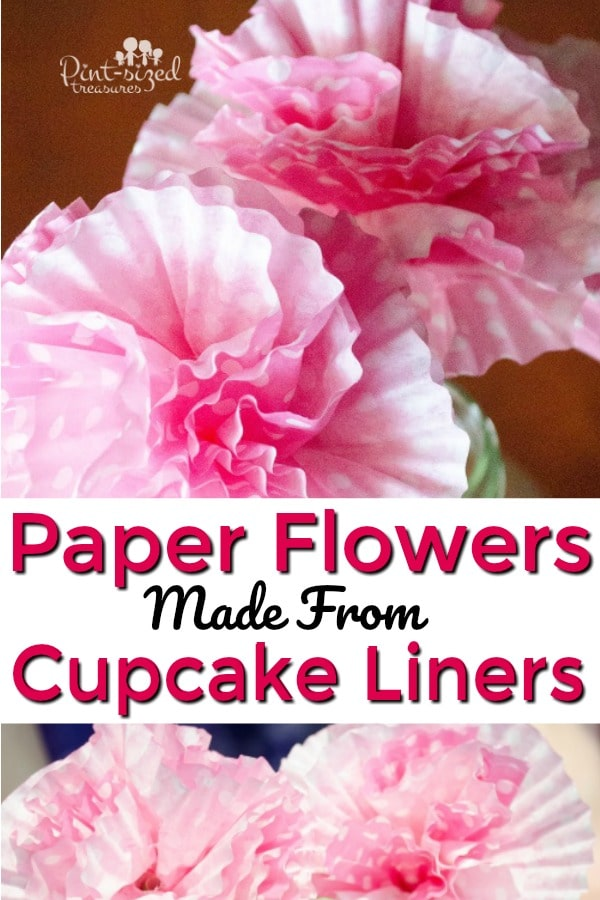 easy paper flower craft made from cupcake liners